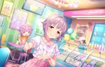 idolmaster_cinderella_girls_starlight_stage koshimizu_sachiko purple_hair shirt short_hair smile yellow_eyes
