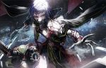 1boy belt black_cape black_gloves black_mask blue_eyes blue_fire blue_hair candle cape cold creature final_fantasy final_fantasy_type-0 fire floating gloves holding holding_lantern holding_sword holding_weapon ice lantern male_focus mask mouth_mask mura_karuki red_belt running sword tonberry weapon yellow_eyes