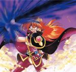 1990s_(style) 1girl angry araizumi_rui armor belt cape earrings energy_sword fighting_stance gloves glowing headband holding jewelry lina_inverse long_hair magic night night_sky official_art open_mouth orange_hair outdoors pauldrons red_eyes shiny shiny_clothes shoulder_armor sky slayers smoke solo spandex special_moves sword two-handed weapon