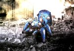 chrome_gear english_commentary from_above ghost_in_the_shell korean_text looking_ahead mecha no_humans photo_background procreate_(medium) robot rubble science_fiction solo tachikoma
