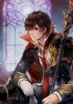 1boy armor brown_hair character_request facial_scar gloves gloves_removed gold_trim male_focus necktie open_clothes open_shirt plaid_neckwear polearm popped_collar red_neckwear scar seven_knights shoulder_armor sitting solo spear weapon white_gloves window winter_(winter168883)