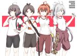 4girls ahoge arashi_(kantai_collection) asashimo_(kantai_collection) ayanami_(kantai_collection) bangs bike_shorts black_shorts blunt_bangs book brown_eyes brown_hair character_name commentary_request cowboy_shot flat_chest grey_eyes gym_uniform hair_over_one_eye instrument jumpsuit_around_waist kantai_collection kishinami_(kantai_collection) long_hair multiple_girls pants ponytail red_eyes red_jumpsuit red_pants redhead sharp_teeth shirt short_hair shorts silver_hair souji t-shirt teeth track_pants trumpet two-tone_background wavy_hair white_background white_shirt