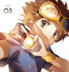 1boy blue_hoodie brown_eyes brown_hair closed_eyes copyright_name cross-laced_clothes digimon digimon_tamers ekita_xuan frown gallantmon glint glowing goggles goggles_on_head holding hood hood_down light_particles looking_at_viewer male_focus matsuda_takato number reaching_out reflection short_sleeves simple_background solo upper_body white_background wristband