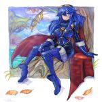 1girl blue_eyes blue_hair bodysuit breasts cape fire_emblem fire_emblem_awakening gloves highres large_breasts looking_to_the_side lucina lucina_(fire_emblem) oomasa_teikoku sitting skin_tight smile solo