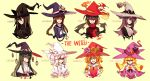 6+girls absurdres anchor anchor_hat_ornament anchor_ornament animal_ears bangs belt black_eyes black_hair black_headwear blonde_hair blue_eyes blue_headwear blunt_bangs blush_stickers bow braid brown_hair character_name clock clock_necklace closed_eyes closed_mouth dress drill_hair english_text fire flower gears goggles goggles_on_headwear green_eyes green_hair hair_between_eyes hair_ornament hat hat_ornament highres jewelry knifedragon long_hair matches medium_hair multiple_girls necklace one_eye_closed open_mouth orange_flower orange_hair original parted_lips petals pink_flower pointy_ears purple_hair purple_headwear red_bow red_eyes red_flower sailor_dress shaded_face simple_background slit_pupils smile star_(symbol) star_hair_ornament star_hat_ornament star_ornament striped striped_bow sunflower turtleneck twin_braids twintails upper_body violet_eyes white_bow white_hair white_headwear white_neckwear witch witch_hat yellow_background yellow_eyes yellow_flower