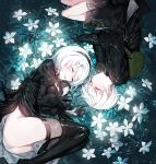 1boy 1girl bag black_footwear black_gloves black_hairband black_shorts cleavage_cutout closed_eyes closed_mouth clothing_cutout curled_up feather-trimmed_sleeves feather_trim flower gloves glowing glowing_flower green_bag hairband lunar_tear lying mura_karuki nier_(series) nier_automata on_side open_mouth puffy_sleeves short_hair shorts white_flower white_hair yorha_no._2_type_b yorha_no._9_type_s