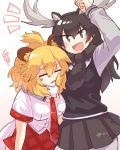 2girls :d absurdres animal_ears antlers arm_around_neck arm_up bangs big_hair black_hair blonde_hair breast_pocket brown_eyes closed_eyes extra_ears eyebrows_visible_through_hair fur_collar fur_scarf furrowed_eyebrows hair_between_eyes head_on_chest highres kemono_friends lion_ears lion_tail long_hair long_sleeves looking_at_viewer medium_hair moose_(kemono_friends) moose_ears moose_tail multiple_girls necktie open_mouth pocket scarf shirt short_sleeves simple_background skirt smile squiggle sweater tail tareme tmtkn1 v-shaped_eyebrows white_background
