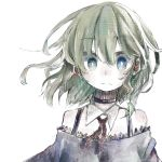 1girl absurdres bangs black_choker choker closed_mouth detached_collar expressionless eyebrows_visible_through_hair highres looking_at_viewer maribel_hearn multicolored multicolored_eyes murayo neck_ribbon red_ribbon ribbon short_hair simple_background solo touhou upper_body white_background