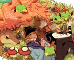 1boy 1girl autumn_leaves baseball_cap berry_(pokemon) brown_hair chikafuji closed_eyes commentary_request eyelashes flower foongus gen_2_pokemon gen_5_pokemon grass hat hilbert_(pokemon) hilda_(pokemon) holding holding_flower long_hair long_sleeves lying natu on_back open_mouth pants pokemon pokemon_(game) pokemon_bw sawsbuck sawsbuck_(autumn) sidelocks yellow_eyes