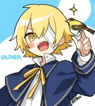 1boy bandage_over_one_eye bird blonde_hair blue_capelet blue_jacket blush_stickers capelet character_name commentary jacket james_(vocaloid) looking_at_viewer male_focus minahoshi_taichi neck_ribbon oliver_(vocaloid) open_mouth ribbon shirt sparkle upper_body v-shaped_eyebrows vocaloid white_shirt yellow_eyes yellow_ribbon
