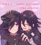 2boys black_cape black_hair black_headwear black_jacket cape character_name closed_eyes commentary_request danganronpa dated dual_persona english_text ewa_(seraphhuiyu) hair_over_one_eye hand_on_another's_head happy_birthday hat jacket long_sleeves looking_at_another lower_teeth male_focus medium_hair multicolored_hair multiple_boys new_danganronpa_v3 open_mouth ouma_kokichi purple_hair sideways_glance smile straitjacket two-tone_hair upper_body white_jacket