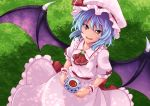 1girl ashiroku_(miracle_hinacle) bat_wings blue_hair brooch commentary cravat cup dappled_sunlight day fangs from_above grass hat hat_ribbon holding holding_saucer jewelry looking_at_viewer looking_up mob_cap on_grass open_mouth outdoors pink_headwear pink_shirt pink_skirt puffy_short_sleeves puffy_sleeves red_eyes red_neckwear remilia_scarlet ribbon saucer shade shirt short_hair short_sleeves skirt slit_pupils solo standing sunlight teacup touhou wings wrist_cuffs