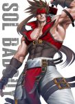 1boy arm_up bara bare_shoulders brown_hair chest cleavage_cutout clothing_cutout covered_abs feet_out_of_frame fingerless_gloves gloves guilty_gear harness headband long_hair looking_at_viewer male_focus muscle pelvic_curtain ponytail red_headband sheath sinichi_okazaki sleeveless sol_badguy solo spiky_hair sword sword_behind_back thick_thighs thighs tight unsheathing weapon