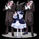 1girl cat_tail clapping dress frederica_bernkastel frilled_dress frills gativ0 gloves goat_horns goatman_(umineko) highres horns mask red_eyes tail umineko_no_naku_koro_ni
