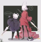 ... 1boy 1girl ? absurdres black_cloak black_eyes black_gloves black_scarf blood brown_footwear cloak closed_eyes closed_mouth covered_mouth dripping gloves hair_between_eyes highres holding holding_polearm holding_spear holding_sword holding_weapon hollow_knight hollow_knight_(character) horns insect_boy insect_girl kkj25 liquid looking_down polearm scarf short_hair sketch sleeping spear speech_bubble standing sword two-tone_background weapon white_hair white_skin yellow_blood zzz