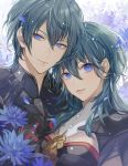 1boy 1girl bangs black_jacket blue_eyes blue_flower byleth_(fire_emblem) byleth_(fire_emblem)_(female) byleth_(fire_emblem)_(male) closed_mouth commentary_request eyebrows_visible_through_hair fire_emblem fire_emblem:_three_houses flower green_hair hair_between_eyes highres jacket long_hair looking_at_viewer matsurika_youko parted_lips petals smile upper_body