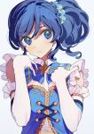 1girl aikatsu! aikatsu!_(series) blue_eyes blue_hair blue_neckwear blue_scrunchie blue_shirt bow bowtie closed_mouth collared_shirt elbow_gloves eyebrows_visible_through_hair frilled_gloves frilled_shirt frills gloves grey_background hair_ornament hair_scrunchie hands_on_own_chest highres idol kiriya_aoi light_frown looking_at_viewer medium_hair scrunchie shirt side_ponytail simple_background sleeveless sleeveless_shirt solo star_ornament upper_body wavy_hair white_gloves yamamura_saki
