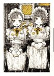 2girls apron bandaid bandaid_on_ear bandaid_on_finger bangs blunt_bangs border collared_dress eyebrows_visible_through_hair frilled_apron frills greyscale hands_together highres kitamurashu maid maid_apron maid_headdress monochrome multiple_girls open_mouth original short_hair spot_color traditional_media upper_body white_apron white_border yellow_nails yellow_neckwear
