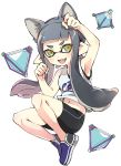 1girl :3 animal_ears arm_up armpits bangs basketball_jersey bike_shorts black_shorts blue_footwear blunt_bangs cat_ears domino_mask fang floating green_eyes grey_hair highres inkling long_hair looking_at_viewer mask midriff_peek no_socks open_mouth paw_pose pointy_ears print_shirt shirt shoes shorts simple_background single_vertical_stripe sleeveless sleeveless_shirt smile sneakers solo splat_bomb_(splatoon) splatoon_(series) takeko_spla tentacle_hair white_background white_shirt