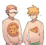 2boys ?? bangs baseball_cap blue_oak brown_hair closed_mouth commentary_request eyebrows_visible_through_hair food hat holding long_sleeves male_focus multiple_boys orange_hair outline pizza pokemon pokemon_(game) pokemon_sm rata_(m40929) red_(pokemon) smile sweatdrop sweater white_background