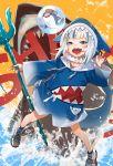 1girl :d absurdres animal animal_hood bangs bloop_(gawr_gura) blue_eyes blue_hair blue_hoodie blue_legwear blue_nails commentary_request gawr_gura hand_up highres holding hololive hololive_english hood hood_up hoodie multicolored_hair nail_polish nima_(niru54) open_mouth polearm shark shark_hood shark_tail sharp_teeth shoes silver_hair smile socks splashing standing streaked_hair tail teeth trident v-shaped_eyebrows virtual_youtuber water weapon white_footwear wide_sleeves
