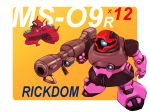 bazooka_(gundam) character_name chibi gun gundam holding holding_gun holding_weapon looking_ahead mecha mobile_suit_gundam no_humans one-eyed open_hand rick_dom solo_focus space_craft vigwer weapon yellow_background zeon