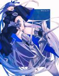 1girl :d absurdly_long_hair bakushi_(kaeritai0609) blue_eyes blue_hair blue_ribbon blue_theme boots character_name crotch_plate fate/grand_order fate_(series) hair_ribbon hand_up long_hair long_sleeves looking_at_viewer meltryllis open_mouth ribbon sleeves_past_fingers sleeves_past_wrists smile solo very_long_hair very_long_sleeves wide_sleeves