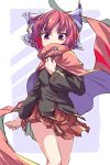 1girl black_shirt blue_background blue_bow border bow cape eyebrows_visible_through_hair hair_bow hidden_mouth holding holding_cape isu_(is88) long_sleeves looking_at_viewer red_cape red_eyes red_skirt redhead ribbon-trimmed_bow ribbon-trimmed_shirt sekibanki shirt short_hair skirt solo touhou white_border