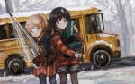 2girls backpack bag black_legwear blonde_hair brown_hair bus coat forest gloves ground_vehicle highres looking_at_viewer medium_hair motor_vehicle multiple_girls nature open_mouth original pantyhose ponytail scenery school_bus school_uniform sero3eta short_hair short_shorts shorts skirt standing umbrella winter winter_clothes winter_coat winter_uniform