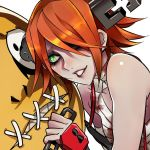 1girl a.b.a bandages blood bloody_clothes green_eyes guilty_gear guilty_gear_xx heart heart-shaped_pupils kin_mokusei paracelsus redhead short_hair stitched_mouth stitches symbol-shaped_pupils