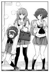 3girls akiyama_yukari backpack bag bangs black_neckwear blouse blunt_bangs blush bonkara_(sokuseki_maou) border carrying closed_eyes eyebrows_visible_through_hair girls_und_panzer greyscale hairband highres holding_person loafers long_hair long_sleeves looking_at_another looking_at_viewer messy_hair miniskirt monochrome multiple_girls neckerchief ooarai_school_uniform open_mouth pleated_skirt reizei_mako sandals school_briefcase school_uniform serafuku shoes short_hair skirt sleepy socks standing sweatdrop takebe_saori thigh-highs v-shaped_eyebrows