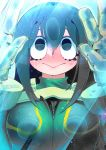1girl asui_tsuyu bangs big_eyes black_hair bodysuit boku_no_hero_academia breast_press breasts frog_girl gloves green_bodysuit hakkasame hands_up highres light_rays long_hair solo triangle_mouth water water_drop wet wet_clothes wet_hair