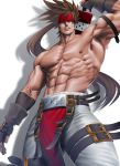 1boy abs arm_up bara bare_chest brown_hair chest feet_out_of_frame fingerless_gloves gloves guilty_gear harness headband long_hair looking_at_viewer male_focus muscle navel nipples pelvic_curtain ponytail red_headband sheath shirtless sinichi_okazaki sol_badguy solo spiky_hair sword sword_behind_back thick_thighs thighs tight unsheathing weapon