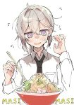 1girl @_@ ahoge bangs black_neckwear blush bowl chopsticks e_sky_rugo eyebrows_visible_through_hair flying_sweatdrops food girls_frontline grey_hair hair_between_eyes holding holding_chopsticks long_hair long_sleeves m200_(girls_frontline) necktie noodles open_mouth ponytail ramen shirt simple_background solo sweat upper_body violet_eyes white_background white_shirt