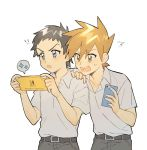 !! 2boys belt blue_oak blush cellphone collared_shirt commentary_request grey_eyes grey_hair grey_pants grey_shirt hand_on_another's_shoulder highres holding holding_phone male_focus multiple_boys open_mouth orange_hair pants phone pokemon pokemon_(game) pokemon_sm rata_(m40929) red_(pokemon) shirt short_sleeves spiky_hair spoken_sparkle sweatdrop teeth tongue