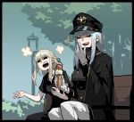 +++ 2girls :d =_= bench black_border black_cape black_headwear black_jacket black_ribbon blonde_hair border braid cape closed_eyes d: earrings french_braid gogalking grey_hair hair_ribbon hand_up hat highres holding ice_cream_cone jacket jewelry junior_(gogalking) laughing long_sleeves military_hat multiple_girls open_mouth ophelia_(gogalking) original outdoors pants ribbon sitting smile white_pants