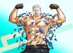 1boy abs bara bare_chest belt brown_gloves chest cigar denim english_text exploding_clothes facial_hair flexing gloves gradient gradient_background jeans kokorozashi male_focus manly muscle navel navel_hair nipples one_piece pants pose scar short_hair simple_background smoker_(one_piece) smoking solo stitches stubble wardrobe_malfunction