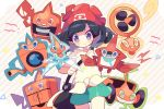 1girl beanie black_hair blush closed_mouth commentary_request cowboy_shot gen_4_pokemon green_shorts grey_eyes hat holding_strap looking_at_viewer pokemon pokemon_(creature) pokemon_(game) pokemon_sm red_headwear rotom rotom_(fan) rotom_(frost) rotom_(heat) rotom_(mow) rotom_(normal) rotom_(wash) rotom_dex selene_(pokemon) shirt shorts takashino_(noni-nani) tied_shirt wavy_mouth