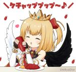 1girl ^_^ bangs bare_shoulders black_gloves black_shirt black_wings blonde_hair blush bottle bow closed_eyes collared_shirt commentary_request crown detached_sleeves eyebrows_visible_through_hair facing_viewer feathered_wings fingerless_gloves food gloves hair_bow hands_up holding holding_bottle ketchup ketchup_bottle long_sleeves maaru_(shironeko_project) miicha mismatched_wings omurice one_side_up parted_lips plate red_bow shironeko_project shirt simple_background sleeveless sleeveless_shirt sleeves_past_wrists solo translation_request twitter_username upper_body white_background white_sleeves white_wings wings