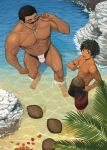 2boys abs bara bare_chest beach black_eyes black_hair blue_eyes bulge chest coconut dainyuu_(dgls) from_above full_body male_focus male_swimwear multiple_boys muscle navel nipples original rock short_hair size_difference sunglasses swim_briefs swimwear thick_thighs thighs water