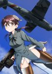 1girl a9b_(louis814) absurdres aircraft airplane animal_ears bangs black_neckwear black_ribbon blue_sky brown_eyes brown_hair closed_mouth clouds cloudy_sky commentary_request day drum_magazine flying fw_190 gertrud_barkhorn grey_jacket gun hair_ribbon highres holding holding_gun holding_weapon jacket long_sleeves looking_at_viewer low_twintails machine_gun medium_hair mg42 military military_uniform neck_ribbon no_pants outdoors panties ribbon sky smile solo strike_witches striker_unit twintails underwear uniform vehicle_request weapon white_panties world_witches_series