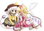 2girls blonde_hair blue_rose finger_to_face flandre_scarlet flower green_hair hadurin_(zdmzy) hair_ribbon hat hat_ribbon heart heart_of_string highres komeiji_koishi long_sleeves multiple_girls no_hat no_headwear puffy_sleeves red_eyes ribbon rose shirt short_sleeves side_ponytail silver_hair simple_background sitting skirt skirt_set third_eye touhou white_background wide_sleeves wings yellow_rose