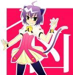 animal_ears bell bells cat_ears cat_tail cat_tails green_eyes kyouran_kazoku_nikki midarezaki_kyouka purple_hair tail thigh-highs thighhighs wristband zettai_ryouiki