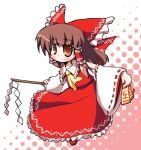 chibi gohei hakurei_reimu halftone halftone_background japanese_clothes lowres miko ribbon ribbons solo tenjou_nanaki touhou