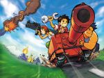 andy arm_up armband bazooka bent_over black_eyes black_hair blue_hair caterpillar_tracks cloud domino explosion fingerless_gloves fire gloves grass grin headband hirata_ryou max max_(advance_wars) military military_uniform military_vehicle motion_blur muscle nintendo official_art orange_hair outdoors ryou_(advance_wars) sami sami_(advance_wars) short_hair sky sleeves_rolled_up smile smoke sparkle spiked_hair sports_bra star tank tank_top uniform vehicle wallpaper weapon wrench