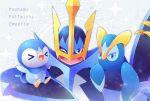 >_< blue_eyes character_name closed_mouth empoleon gen_4_pokemon hasuba. looking_at_viewer no_humans one_eye_closed open_mouth piplup pokemon pokemon_(creature) prinplup tongue