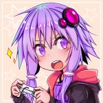1girl :d black_clothes braid commentary_request controller game_controller lowres open_mouth purple_hair smile solo sonson_(yuukyuu_365nichi) sparkle star_(symbol) twin_braids violet_eyes vocaloid voiceroid yuzuki_yukari