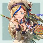 1girl absurdres bangs beret blonde_hair blue_hair commandant_teste_(kantai_collection) commentary_request dated double-breasted grey_background hat highres jacket kantai_collection long_hair looking_at_viewer mitsu_plus multicolored multicolored_clothes multicolored_hair multicolored_scarf one_eye_closed paintbrush palette redhead scarf solo streaked_hair swept_bangs twitter_username two-tone_background wavy_hair white_hair white_jacket
