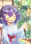 1girl :d ^_^ abukuma_(azur_lane) azur_lane bangs blurry blurry_background blush breasts chair closed_eyes depth_of_field ear_piercing eyebrows_visible_through_hair facial_mark facing_viewer fang hair_between_eyes hair_ornament hairclip hand_up horns japanese_clothes kimono kouu_hiyoyo long_sleeves on_chair open_mouth piercing pointy_ears purple_hair sitting sleeves_past_wrists small_breasts smile solo white_kimono wide_sleeves