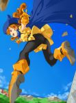1girl :d absurdres alena_(dq4) ankle_boots ass bangs black_legwear blue_cape blue_headwear blue_sky boots breasts cape clouds curly_hair day dragon_quest dragon_quest_iv dress earrings eyebrows_visible_through_hair gloves hat highres jewelry legs_apart long_hair midair mountain ocean open_mouth orange_footwear orange_gloves orange_hair outdoors outstretched_arms panties panties_under_pantyhose pantyhose pretty-purin720 red_eyes short_dress short_sleeves sky small_breasts smile solo teeth underwear yellow_dress